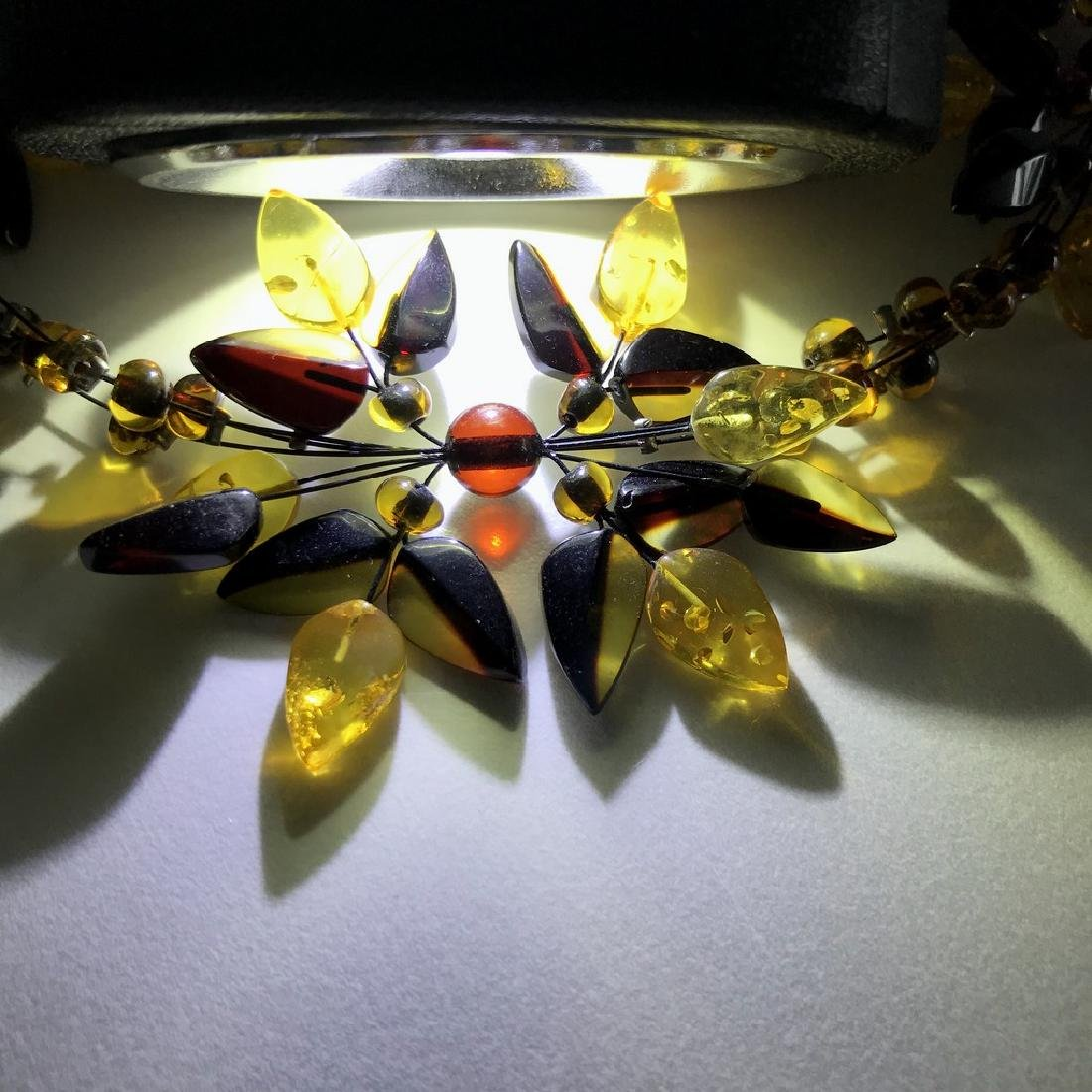 Carved Baltic Amber silver collar wide necklace - 5