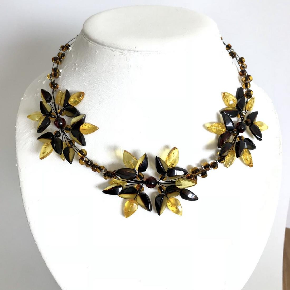 Carved Baltic Amber silver collar wide necklace - 6