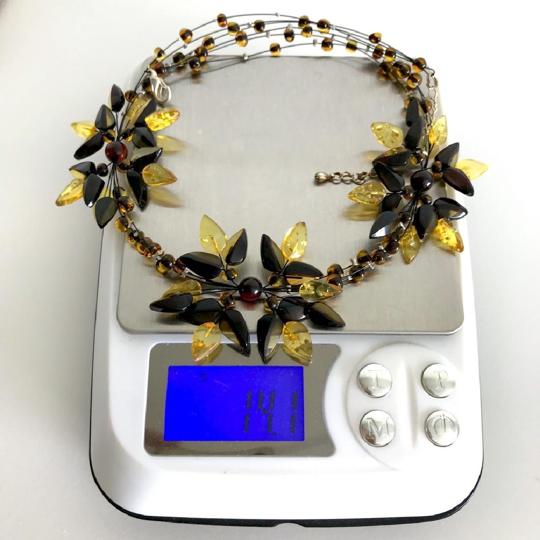 Carved Baltic Amber silver collar wide necklace - 9