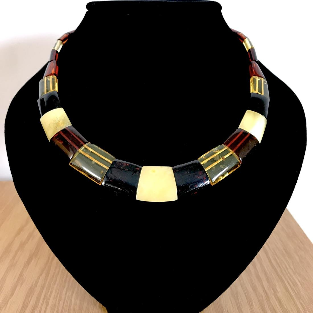 Wide Baltic amber collar necklace 20mm 46cm 20.8 grams - 9