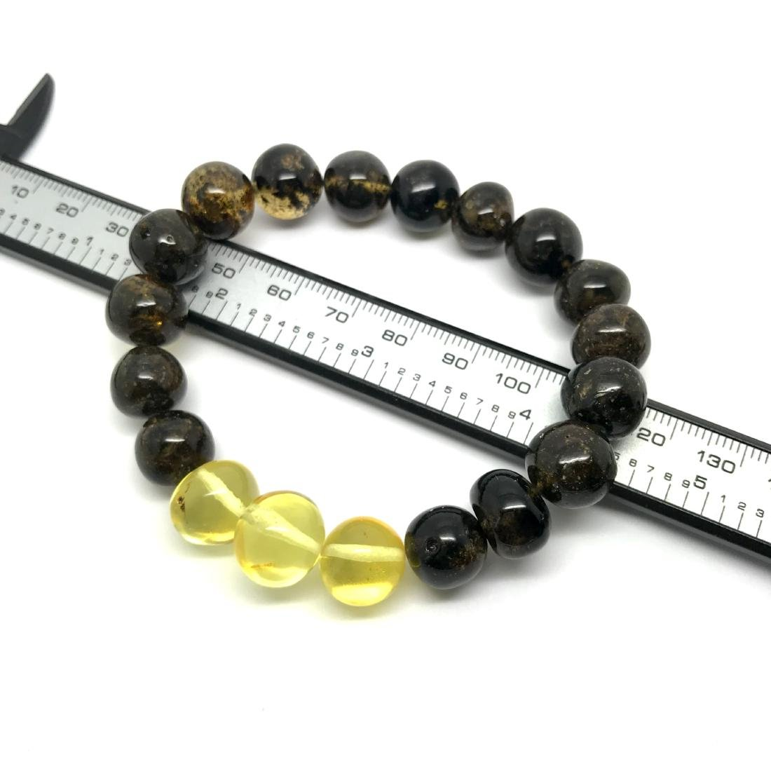 Bracelet old Baltic amber beads black&lemon 16.2 gr - 3