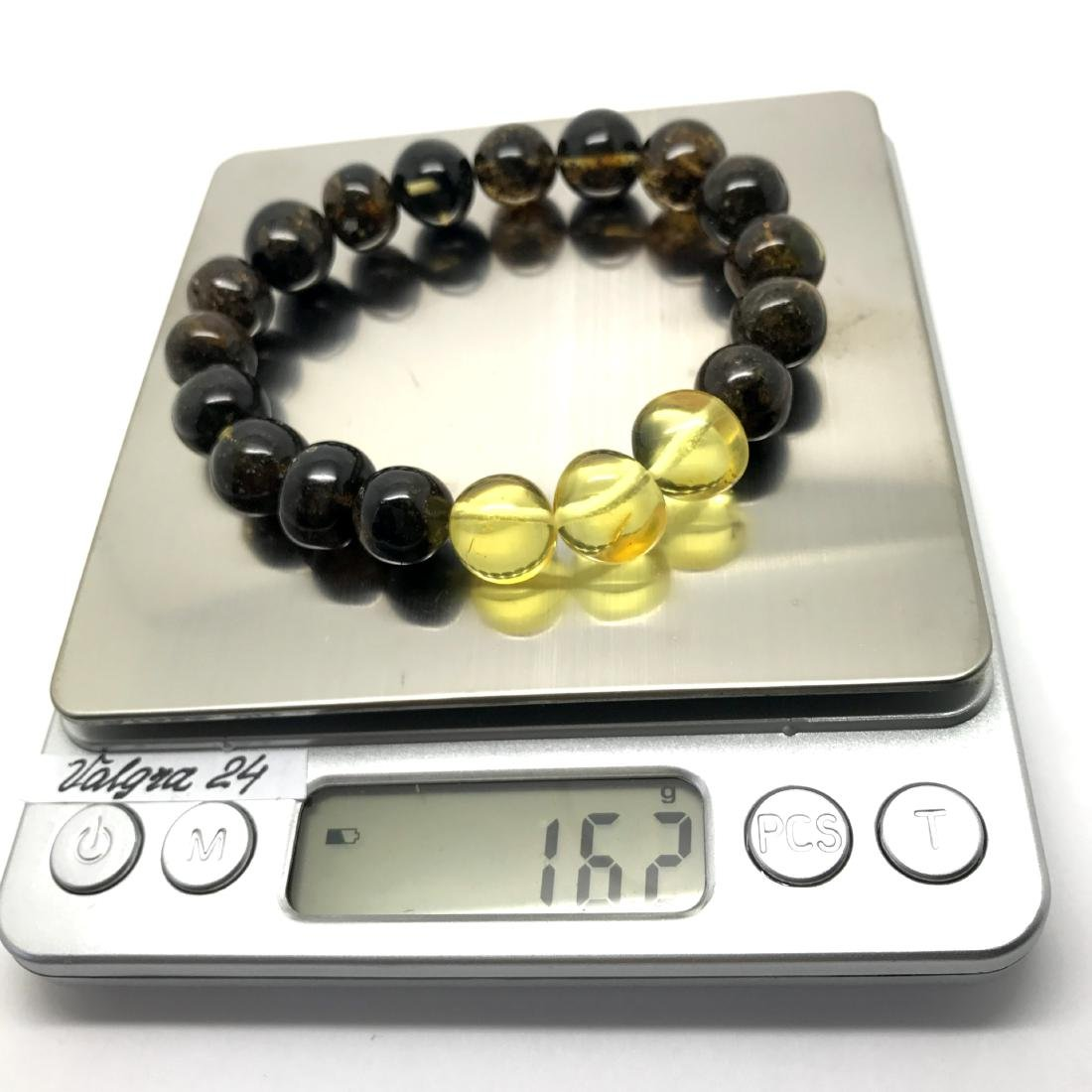Bracelet old Baltic amber beads black&lemon 16.2 gr - 4