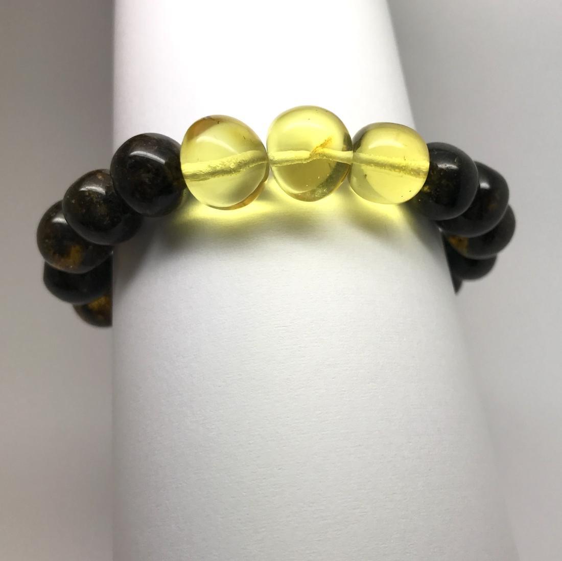 Bracelet old Baltic amber beads black&lemon 16.2 gr - 7