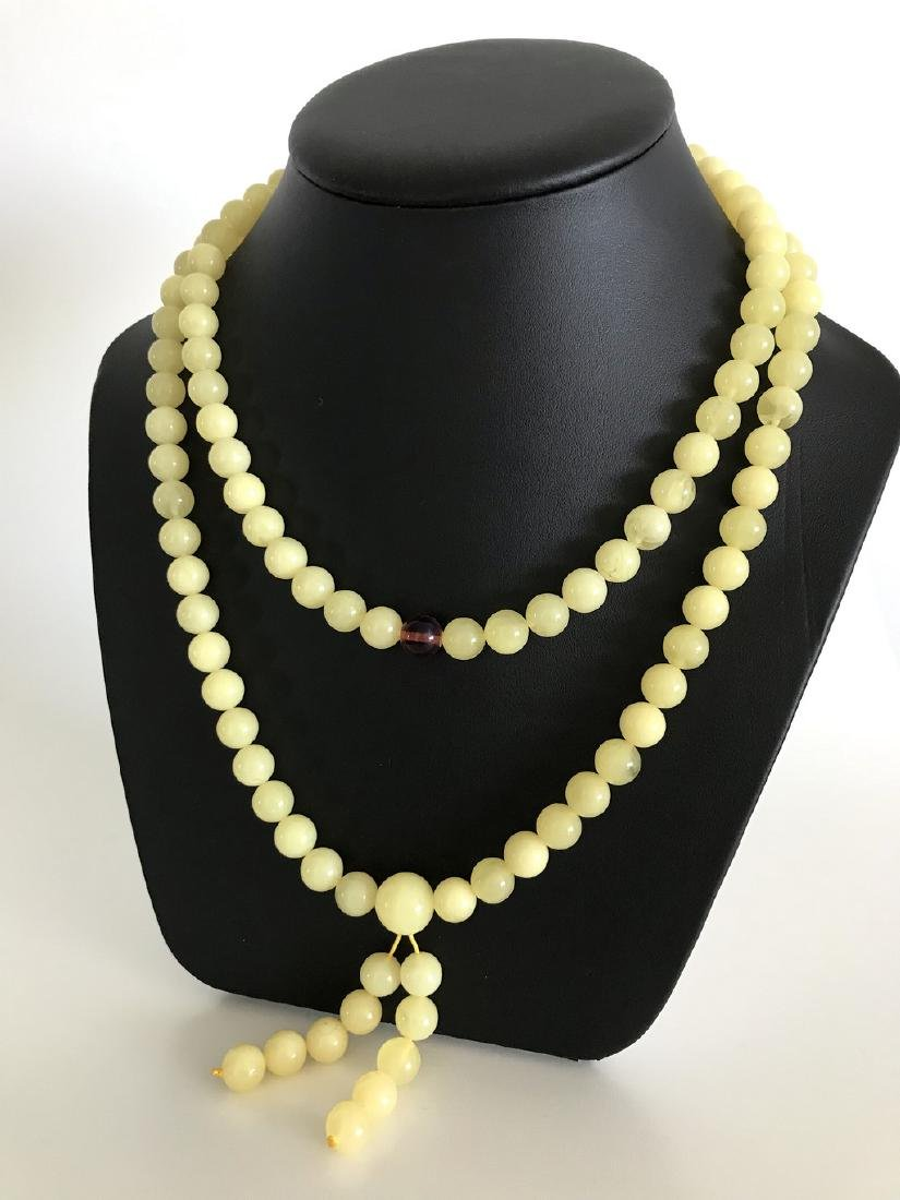 Tibetan japa mala Baltic amber white 108 beads ø10mm 75