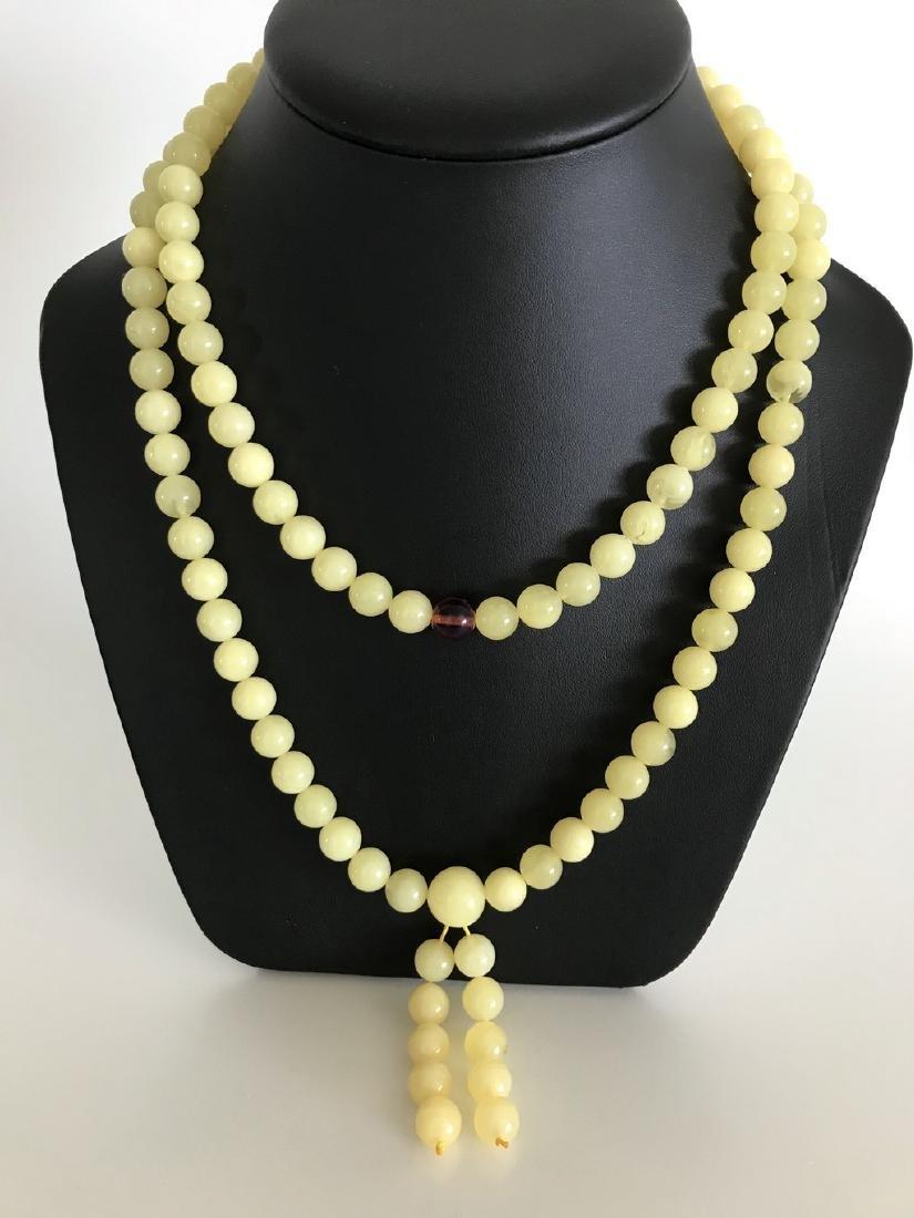 Tibetan japa mala Baltic amber white 108 beads ø10mm 75 - 2