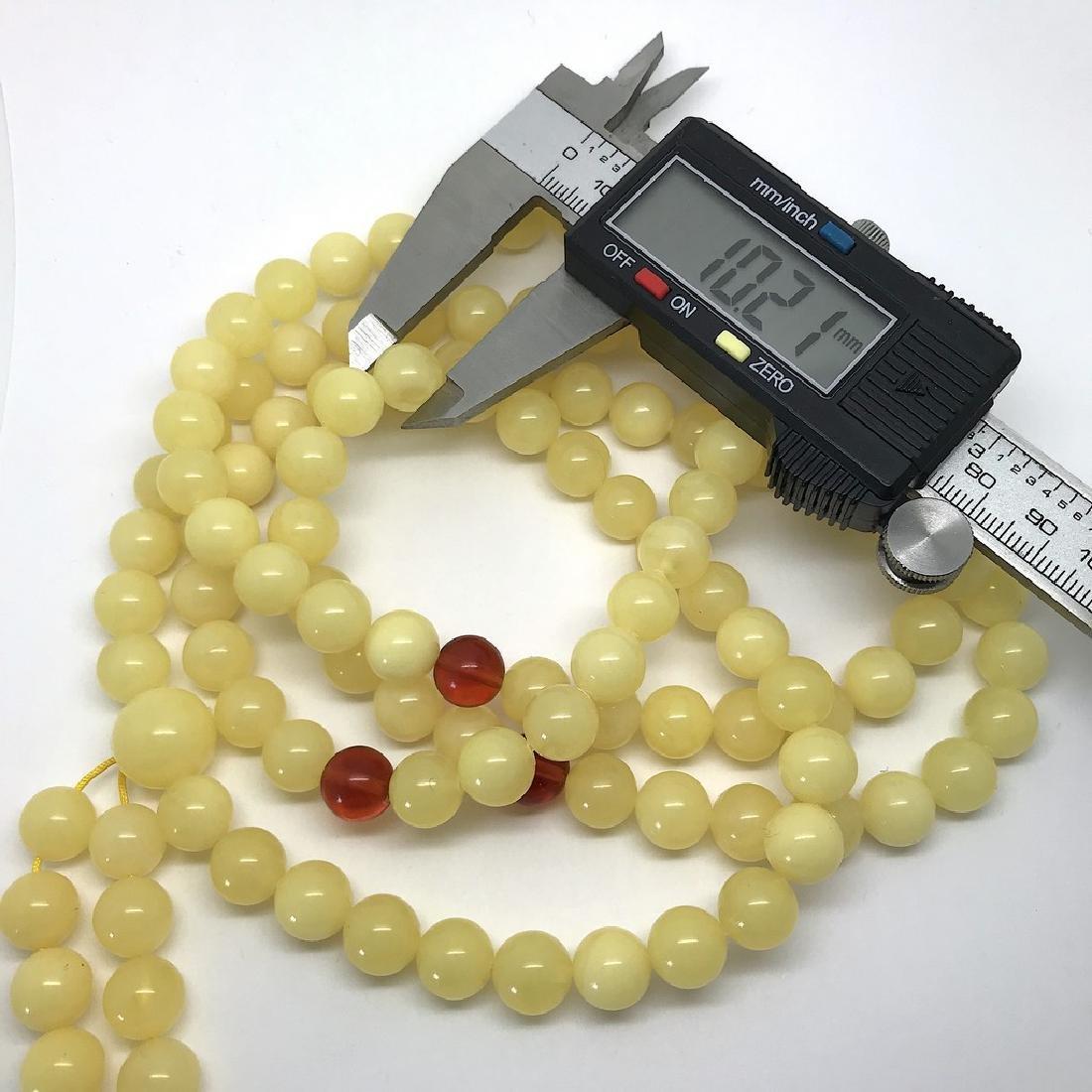 Tibetan japa mala Baltic amber white 108 beads ø10mm 75 - 4