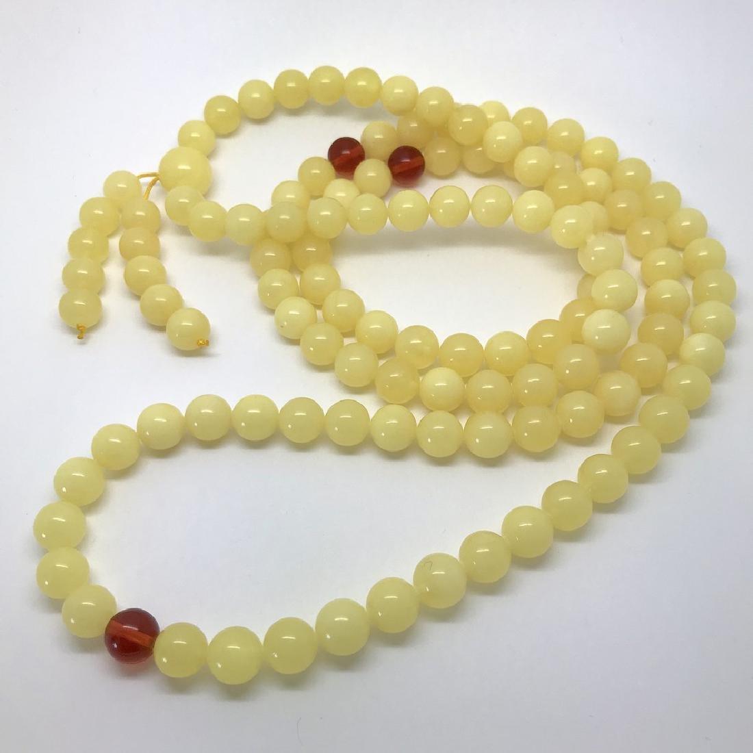 Tibetan japa mala Baltic amber white 108 beads ø10mm 75 - 6