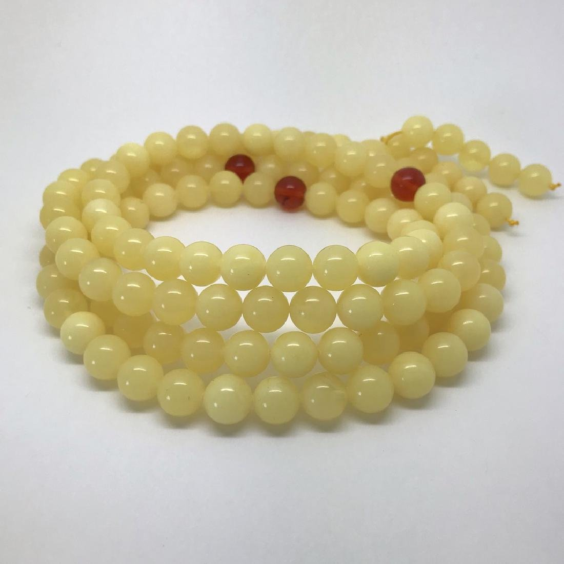 Tibetan japa mala Baltic amber white 108 beads ø10mm 75 - 7