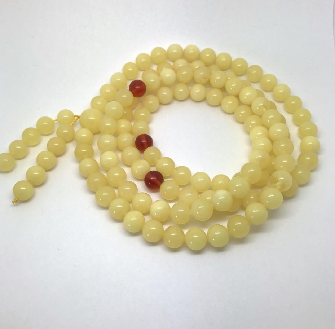 Tibetan japa mala Baltic amber white 108 beads ø10mm 75 - 8