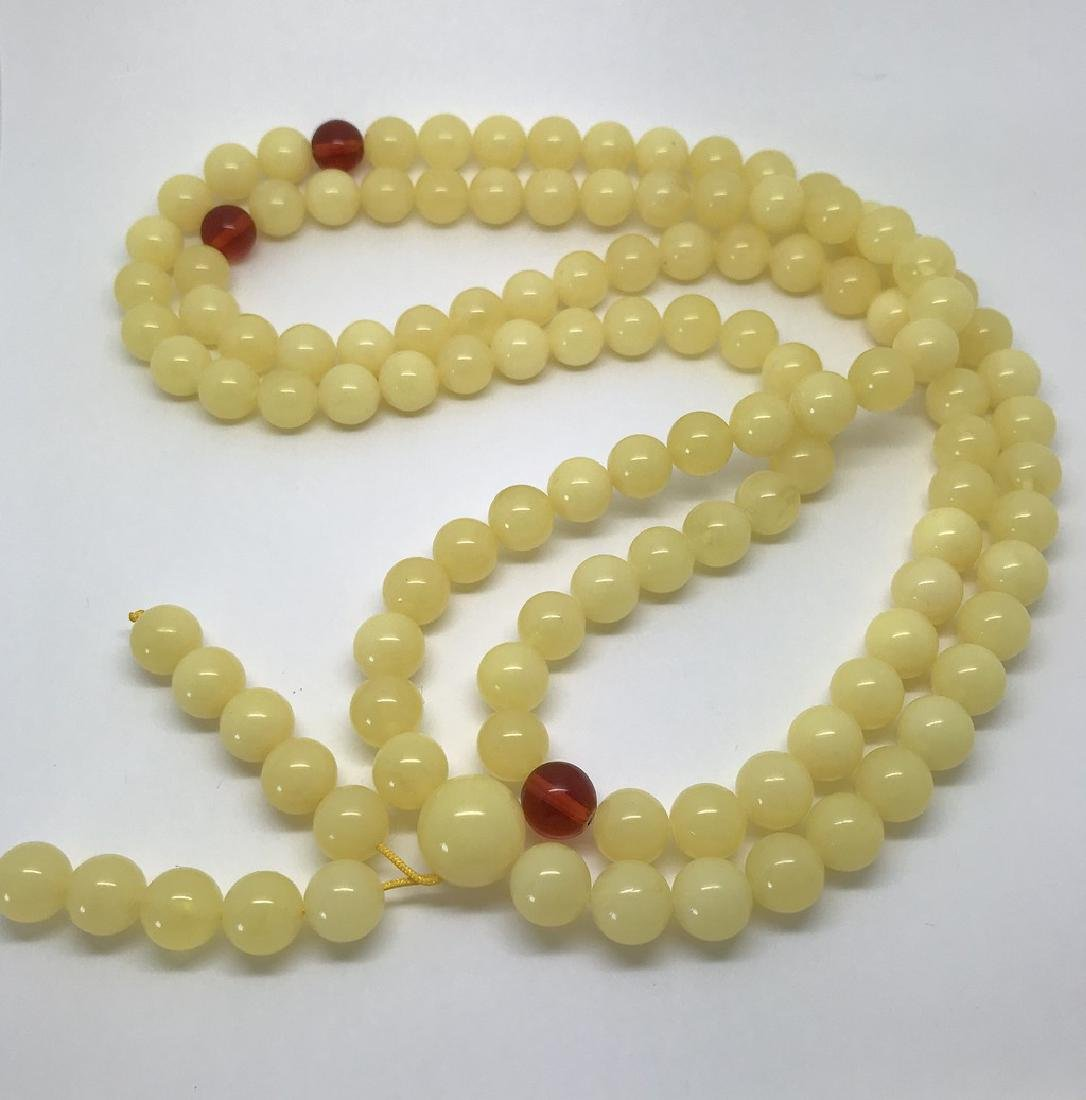 Tibetan japa mala Baltic amber white 108 beads ø10mm 75 - 9