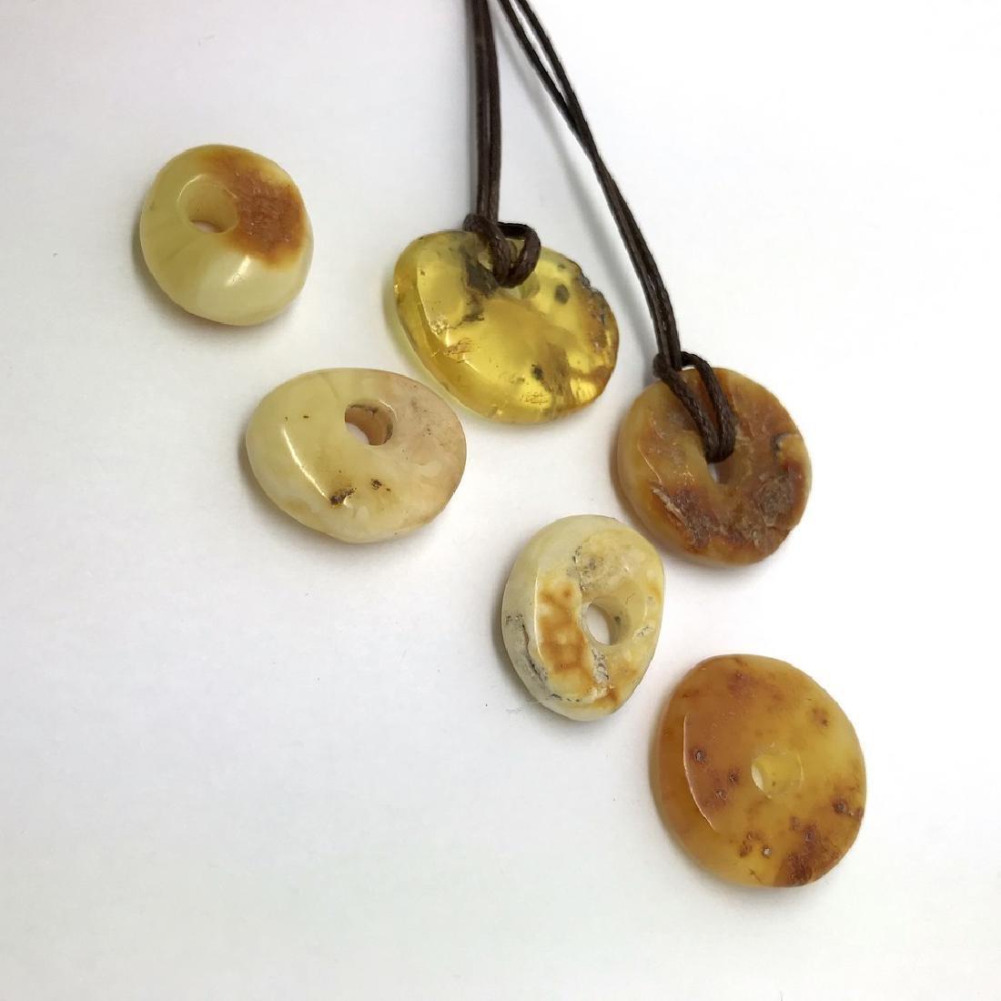 6x Old cut Baltic amber amulet pendant doughnut 15-25mm