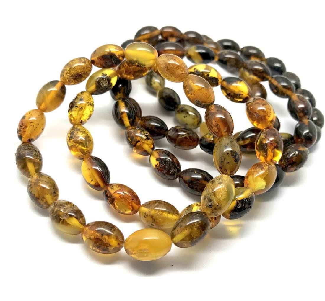 5x Bracelet Baltic amber hand cut beads olive shape 35