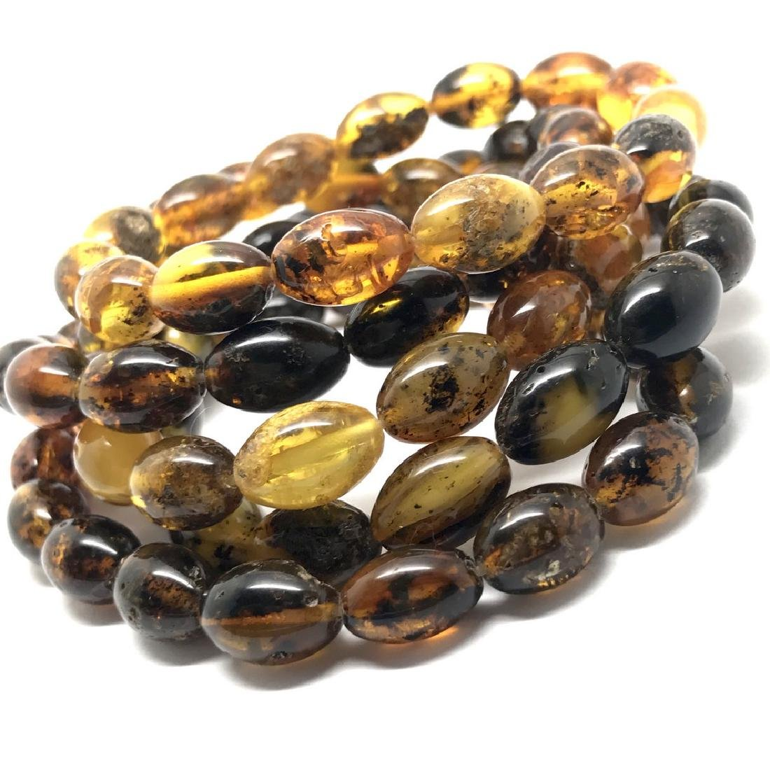 5x Bracelet Baltic amber hand cut beads olive shape 35 - 2