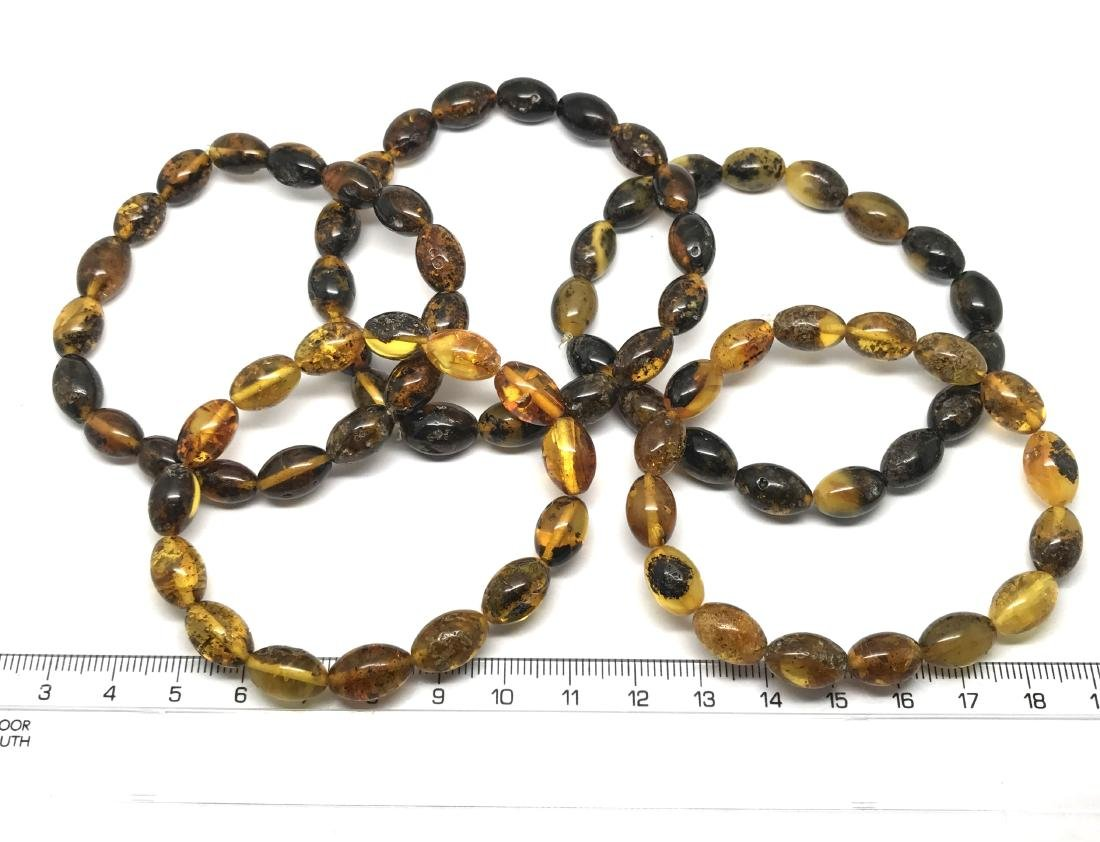 5x Bracelet Baltic amber hand cut beads olive shape 35 - 4