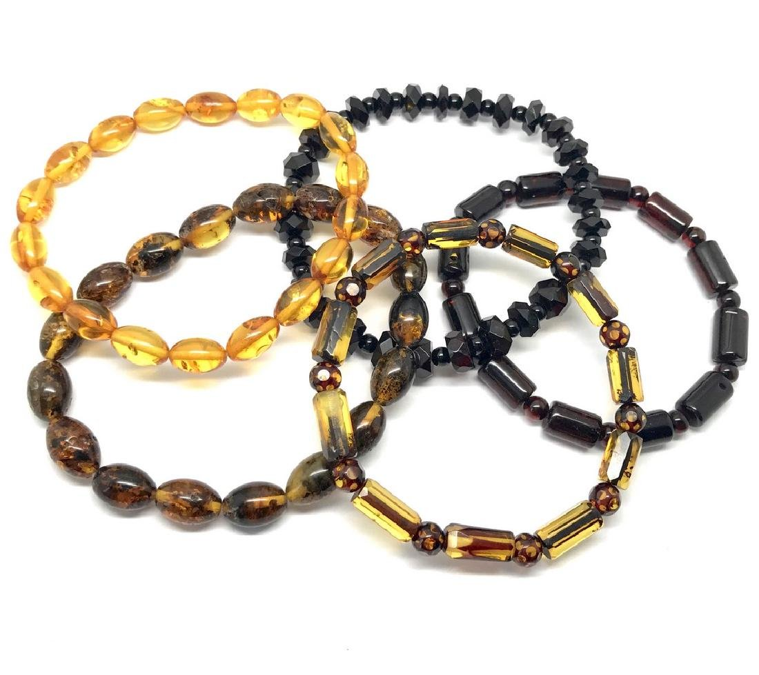 5x Bracelet Baltic amber hand carved beads various