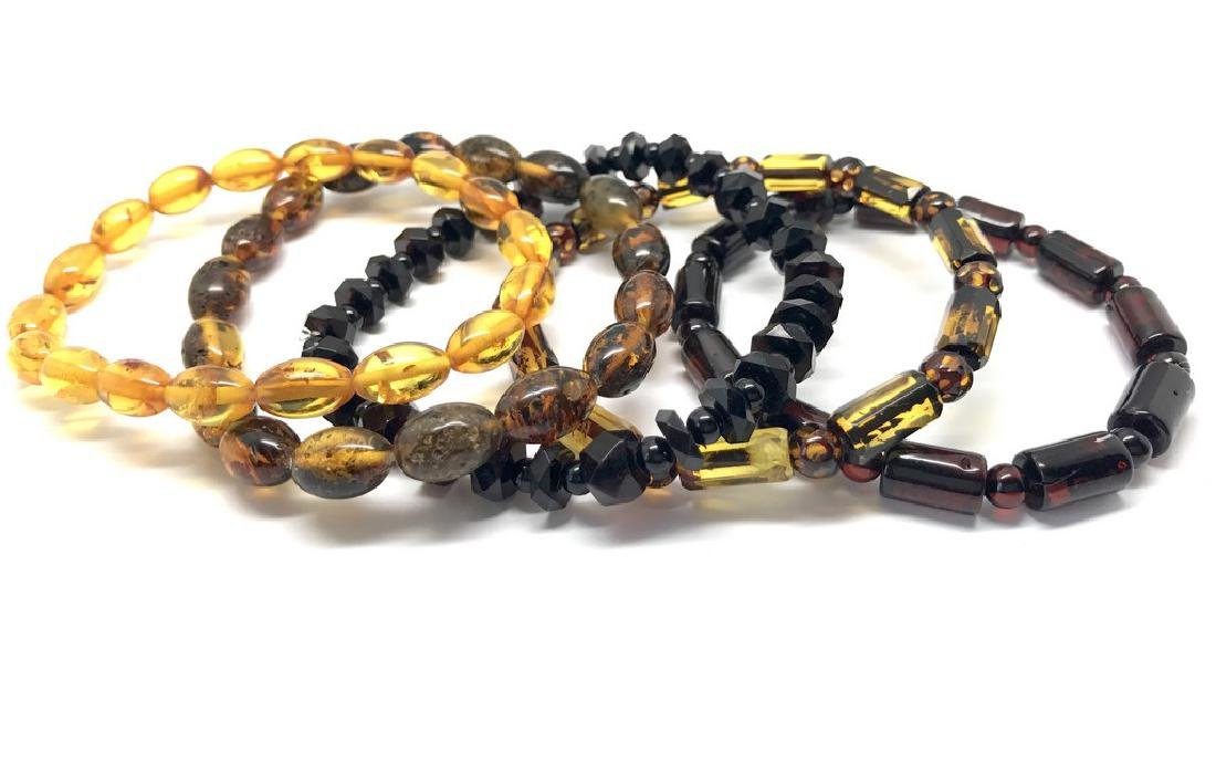 5x Bracelet Baltic amber hand carved beads various - 2