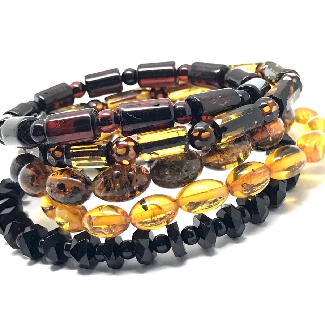 5x Bracelet Baltic amber hand carved beads various - 3