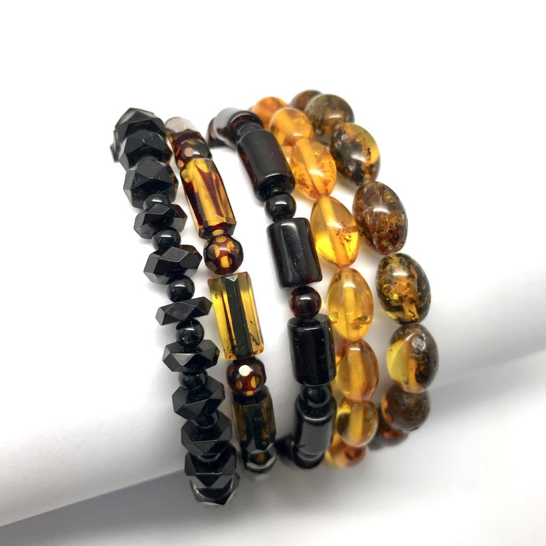 5x Bracelet Baltic amber hand carved beads various - 7