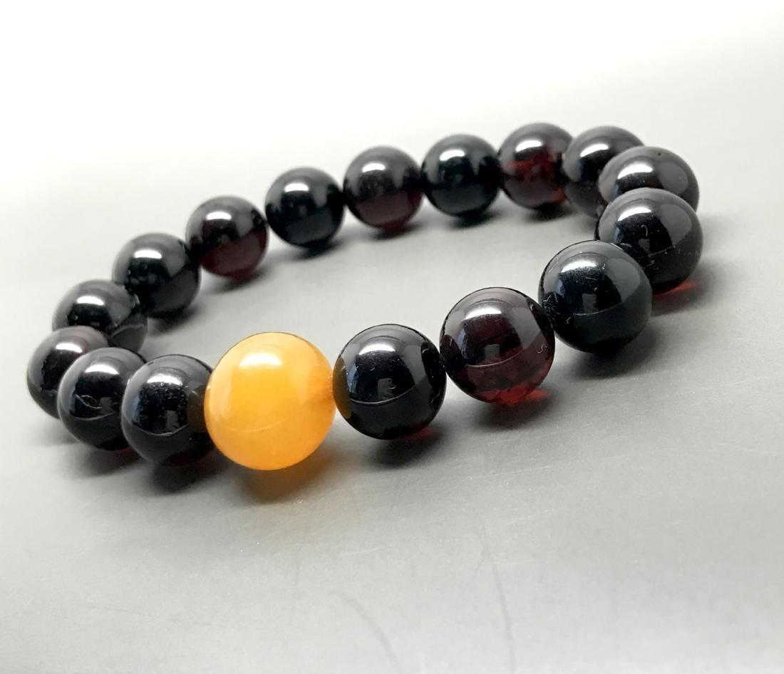 Bracelet vintage Baltic amber cherry&butterscotch beads - 2