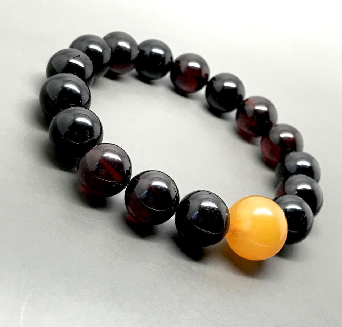 Bracelet vintage Baltic amber cherry&butterscotch beads - 3