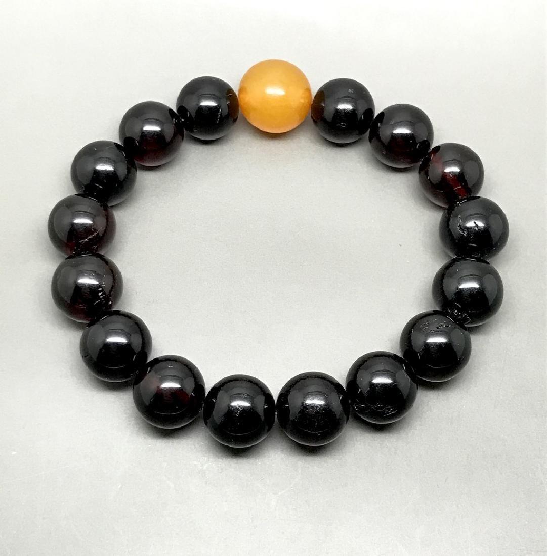 Bracelet vintage Baltic amber cherry&butterscotch beads - 4