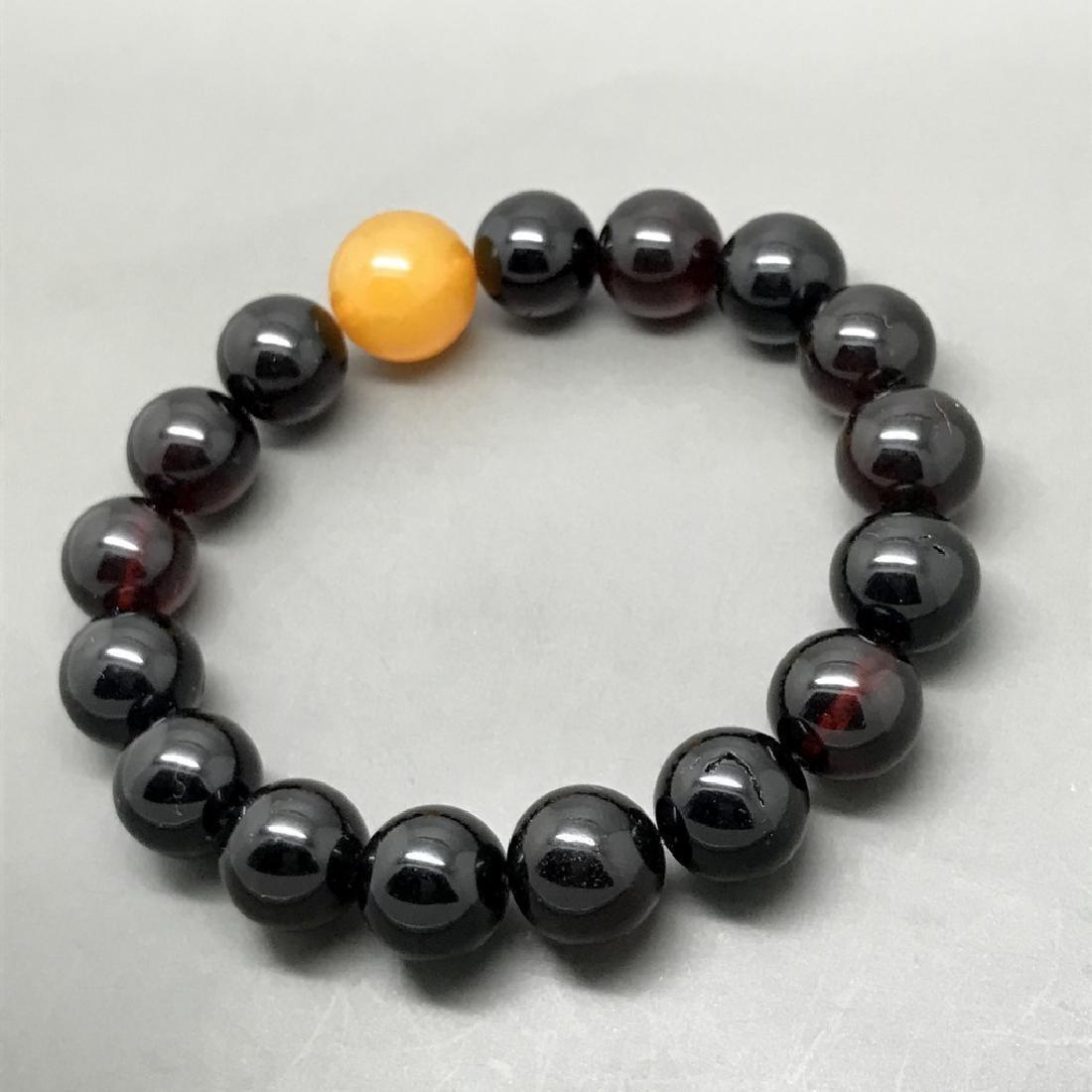 Bracelet vintage Baltic amber cherry&butterscotch beads - 5