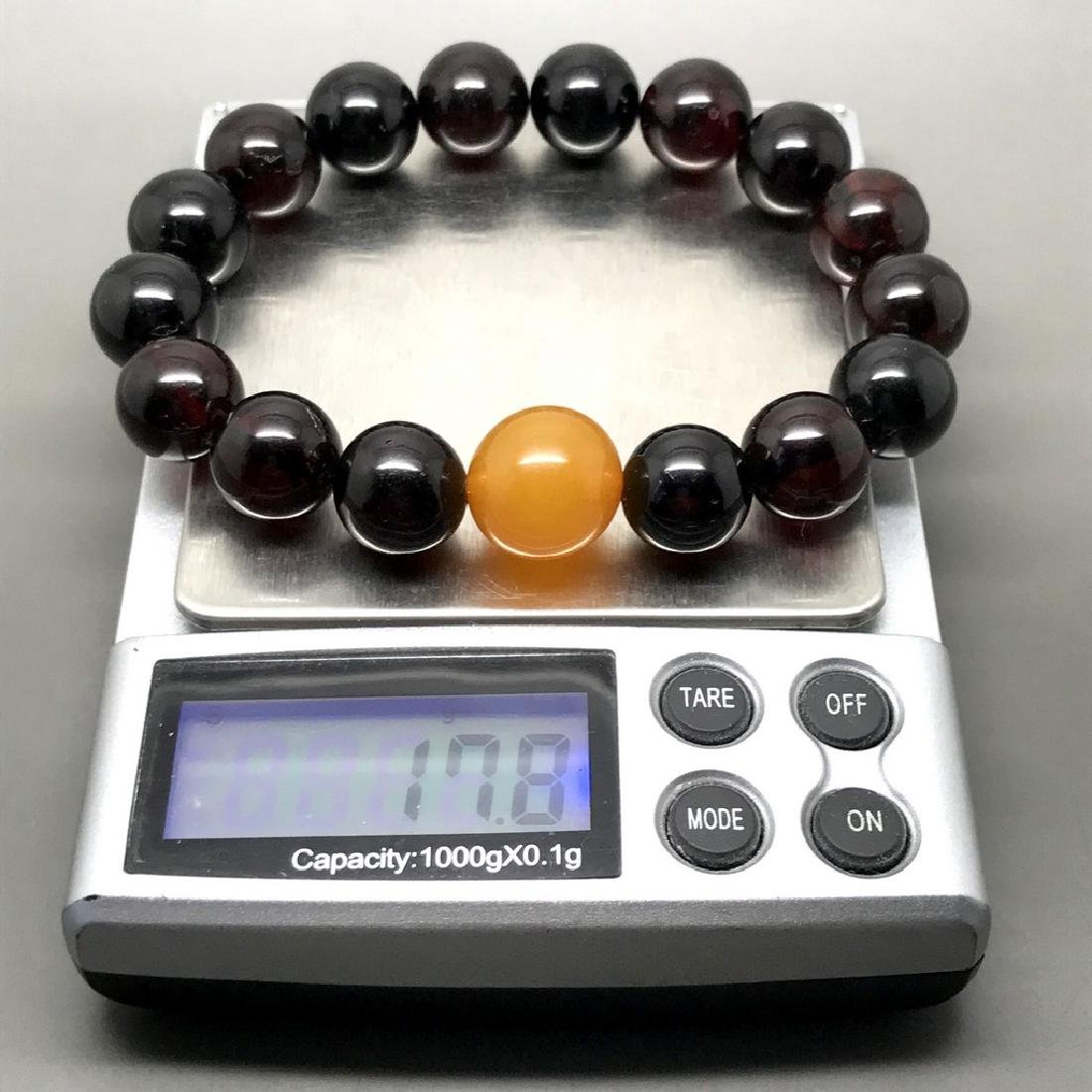Bracelet vintage Baltic amber cherry&butterscotch beads - 6