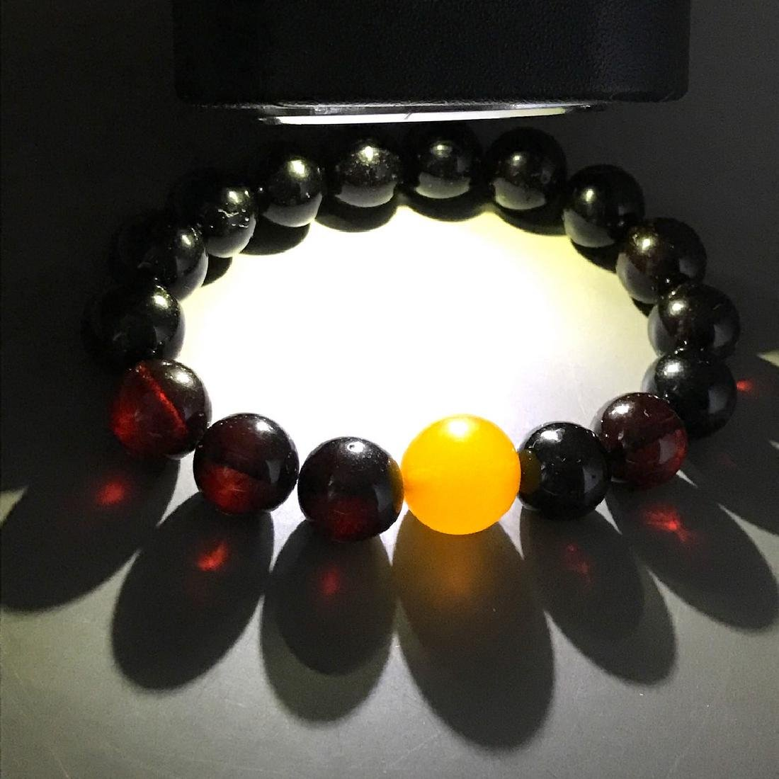 Bracelet vintage Baltic amber cherry&butterscotch beads - 7