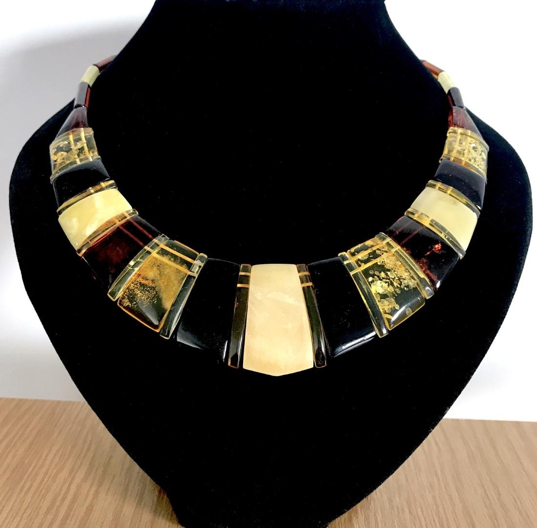 Luxury Collar Baltic amber wide necklace 35mm 47cm - 2