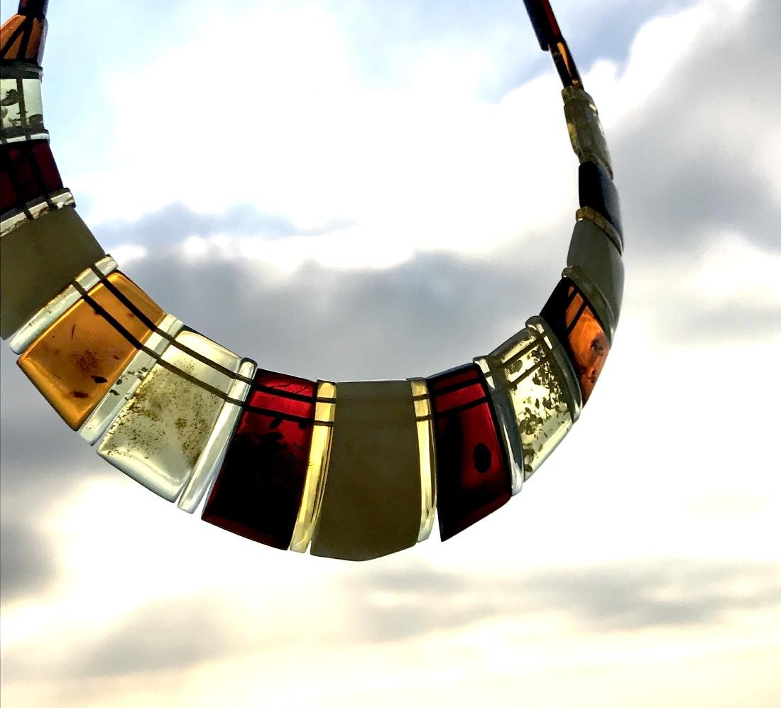 Luxury Collar Baltic amber wide necklace 35mm 47cm - 3