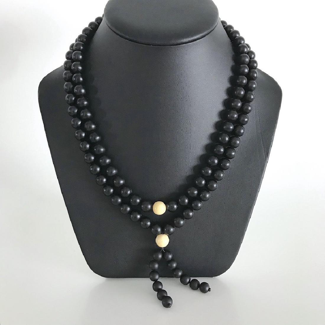 Japa mala necklace Baltic amber black beads ø10mm 73