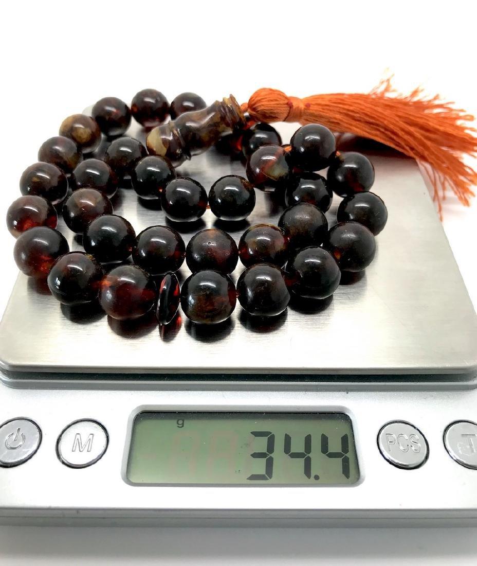 Misbaha tesbih Baltic amber cognac 33 beads ø11.5mm