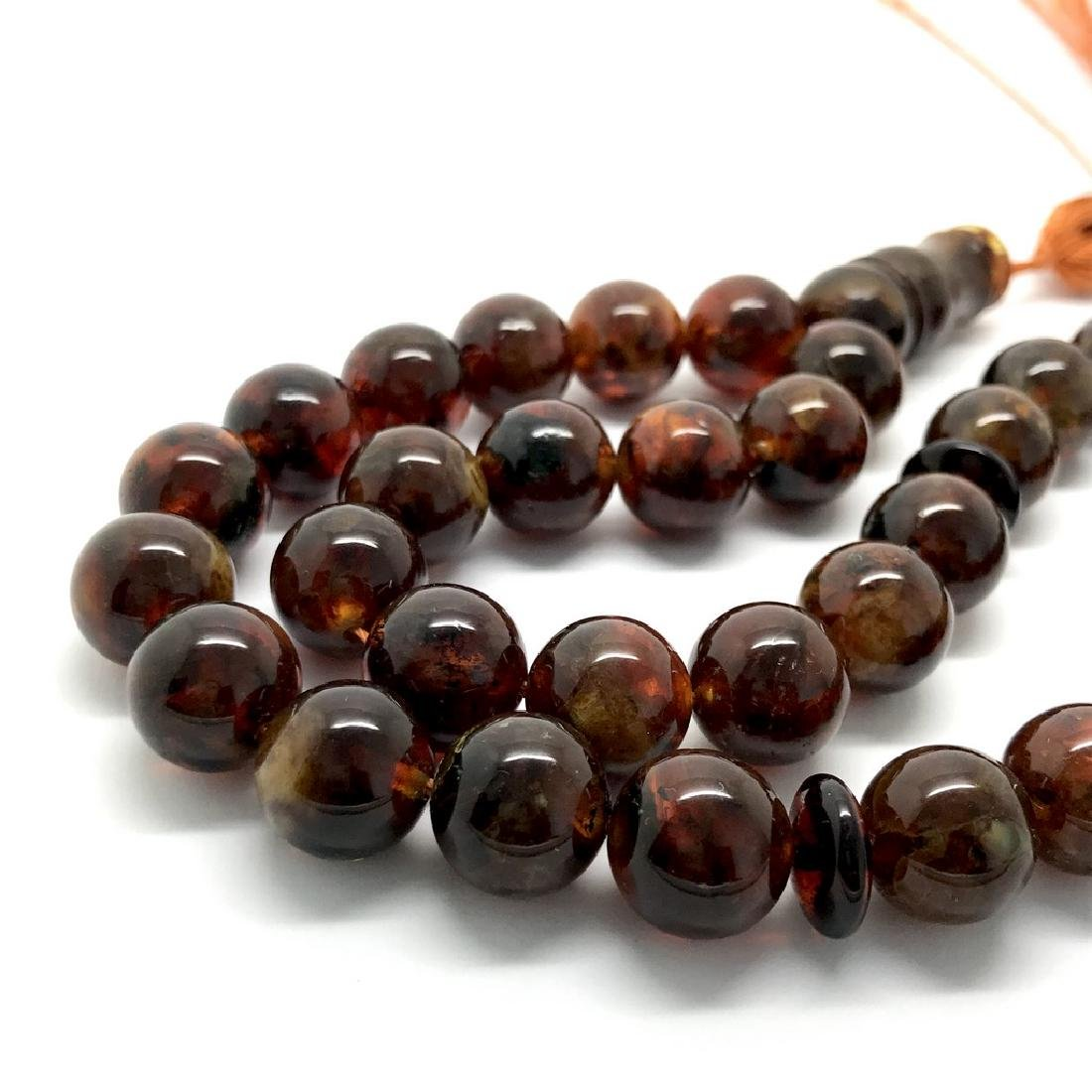 Misbaha tesbih Baltic amber cognac 33 beads ø11.5mm - 3
