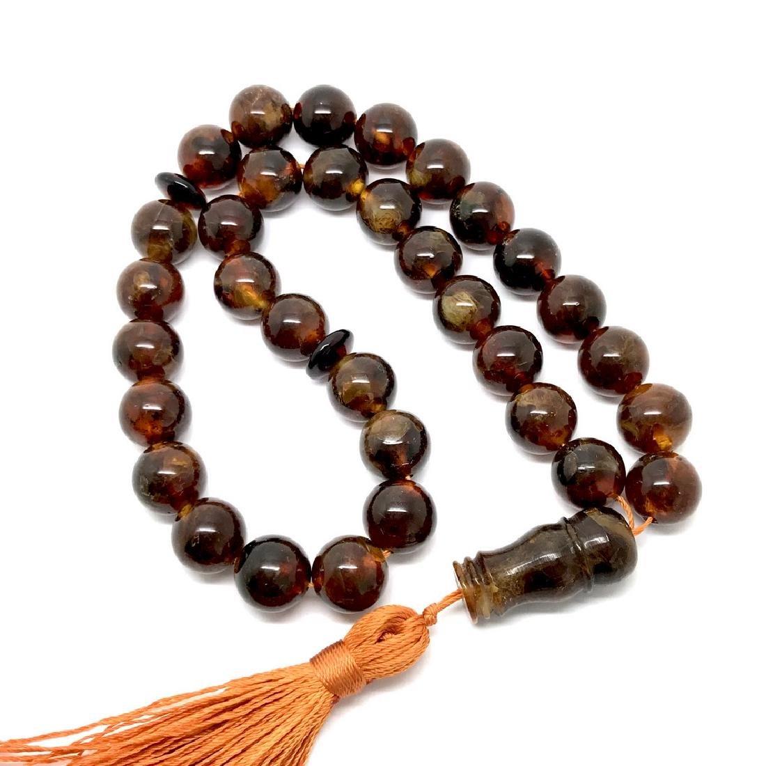 Misbaha tesbih Baltic amber cognac 33 beads ø11.5mm - 6
