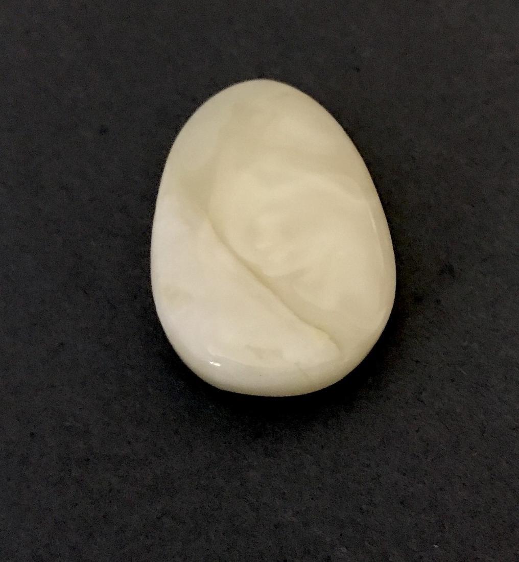 Rare white Baltic amber cabochon 38x26x10mm