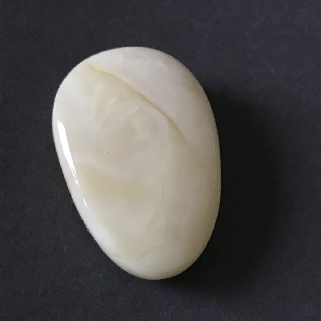 Rare white Baltic amber cabochon 38x26x10mm - 6