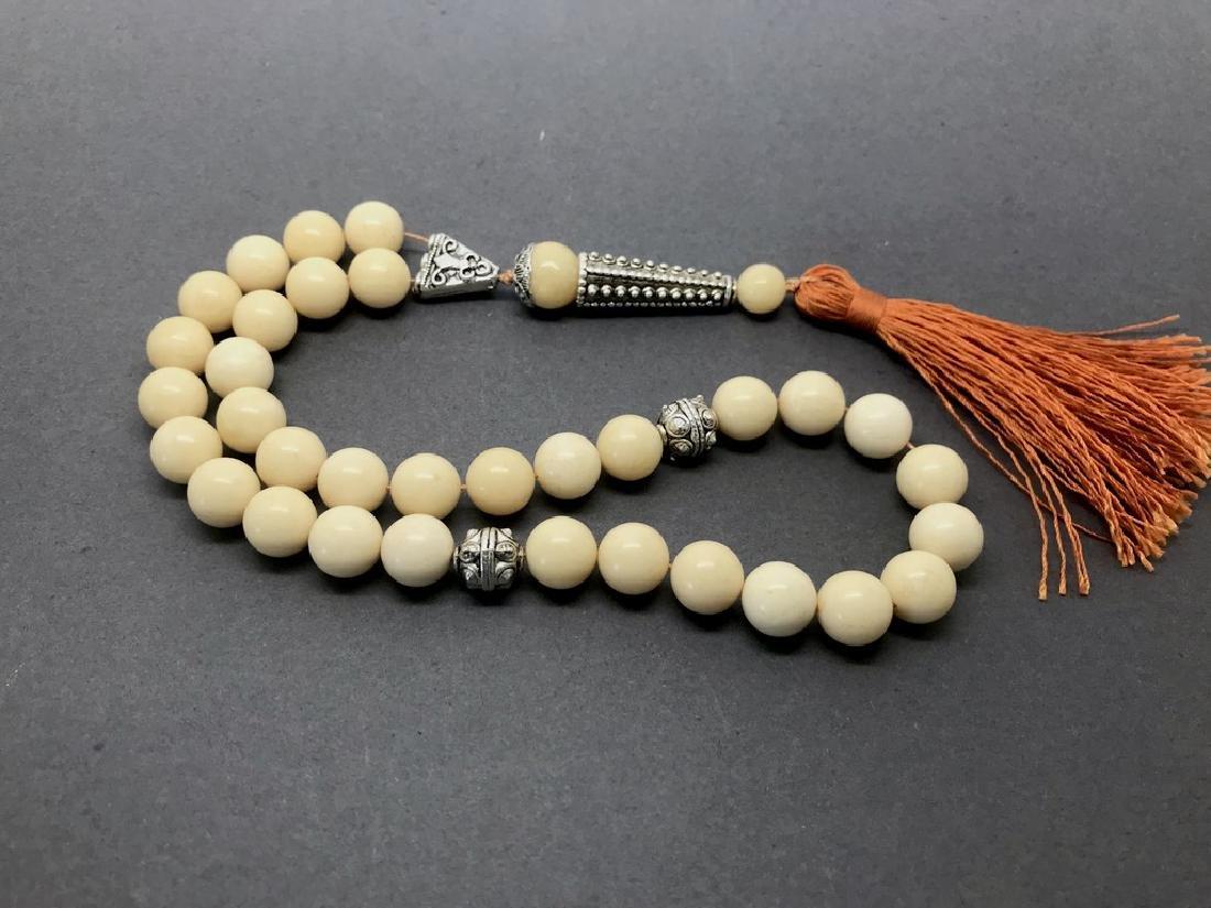 Misbaha tesbih Baltic amber white 33 beads ø11mm 44.7