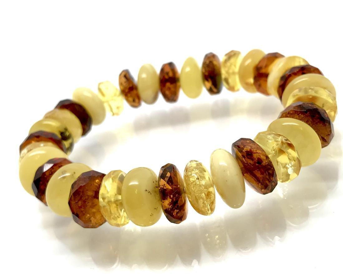 Vintage bracelet Baltic amber faceted doughnuts various