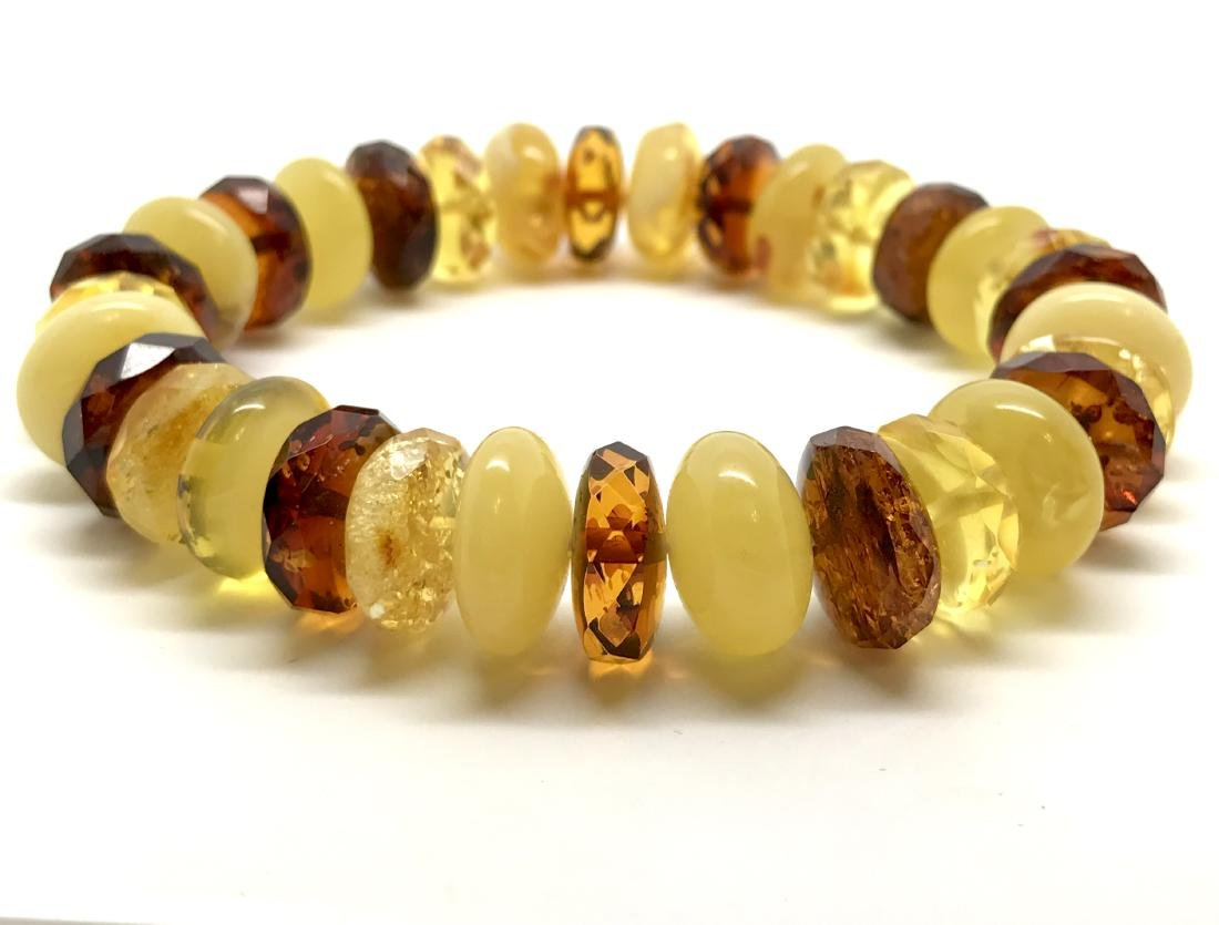 Vintage bracelet Baltic amber faceted doughnuts various - 3
