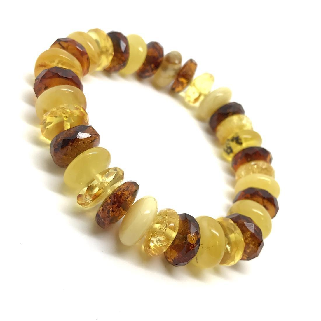 Vintage bracelet Baltic amber faceted doughnuts various - 4
