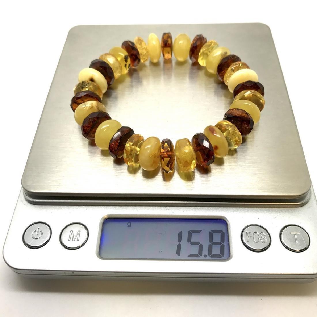 Vintage bracelet Baltic amber faceted doughnuts various - 8