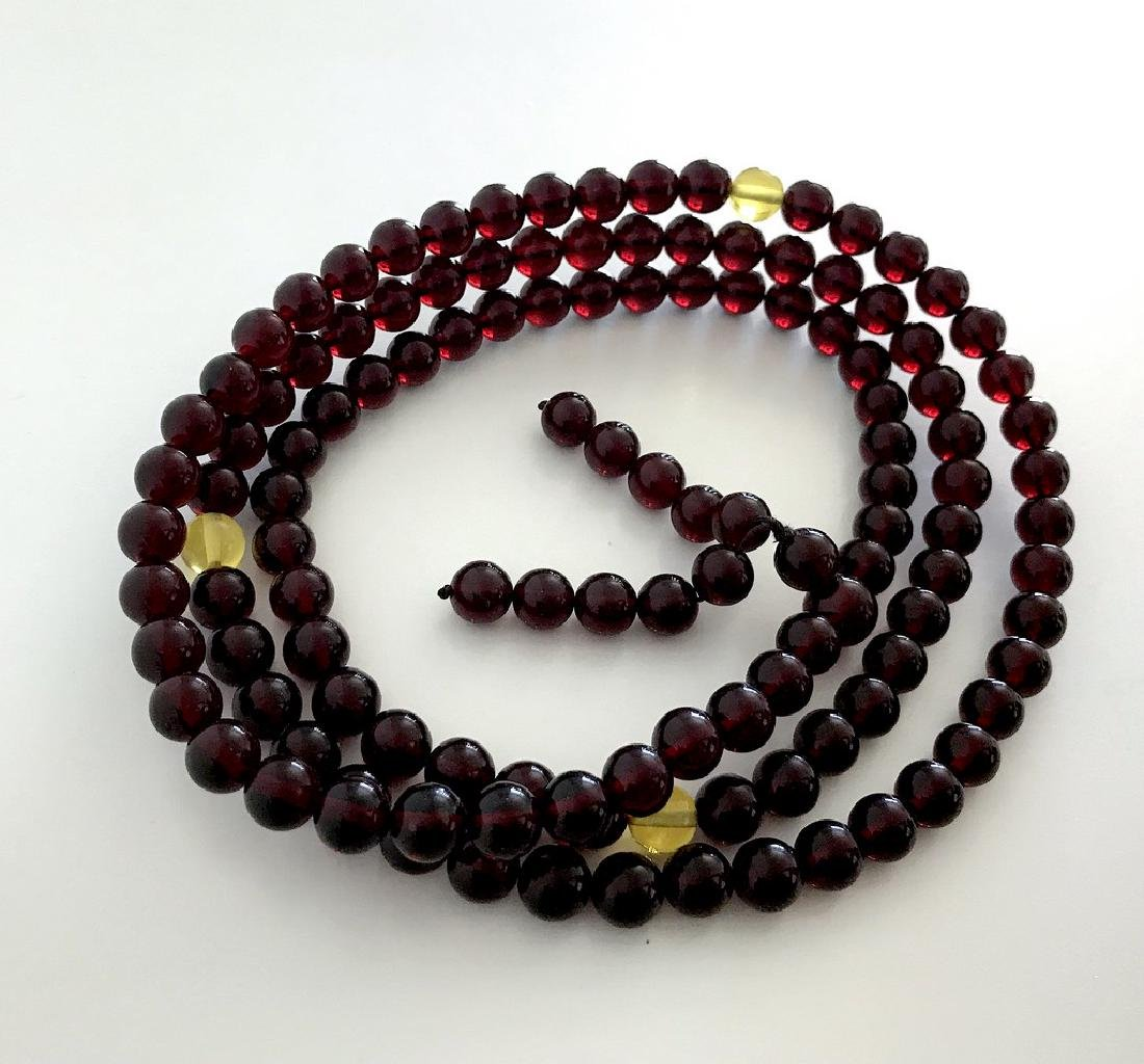 Tibetan japa mala Baltic amber cherry beads ø10mm 80 - 2