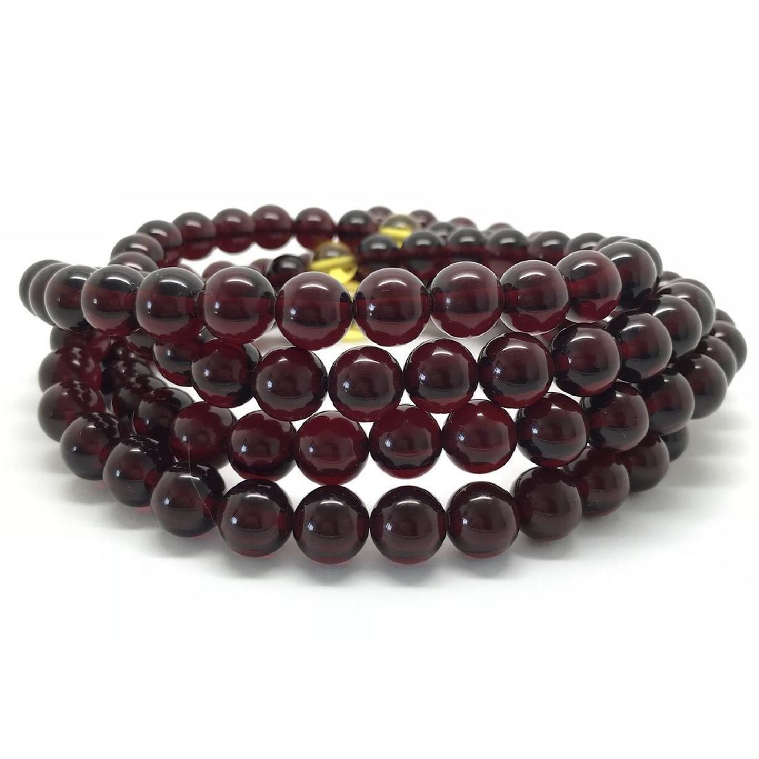 Tibetan japa mala Baltic amber cherry beads ø10mm 80 - 4