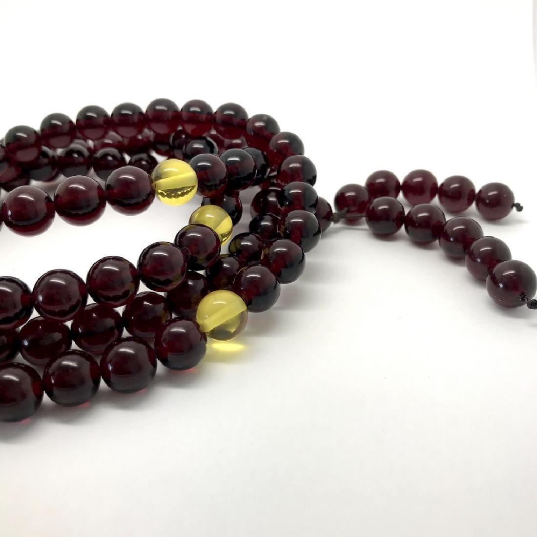 Tibetan japa mala Baltic amber cherry beads ø10mm 80 - 5