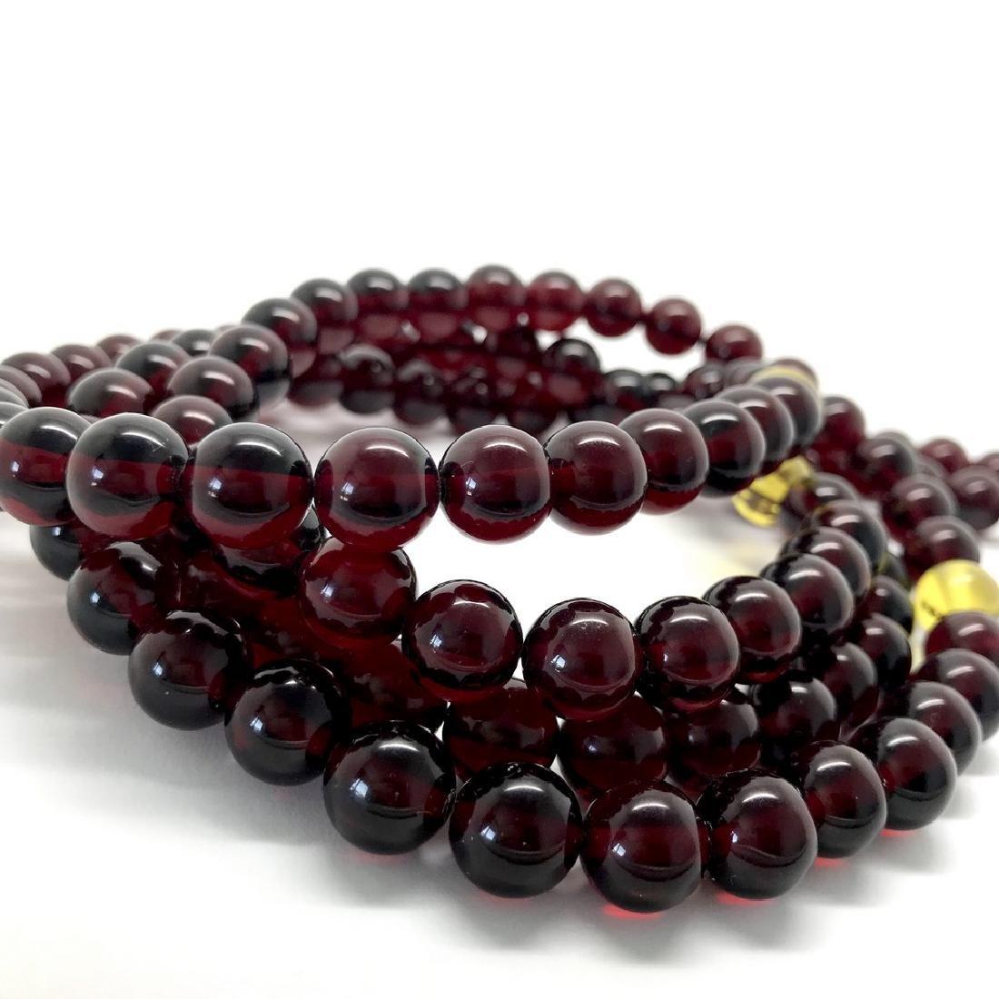 Tibetan japa mala Baltic amber cherry beads ø10mm 80 - 6