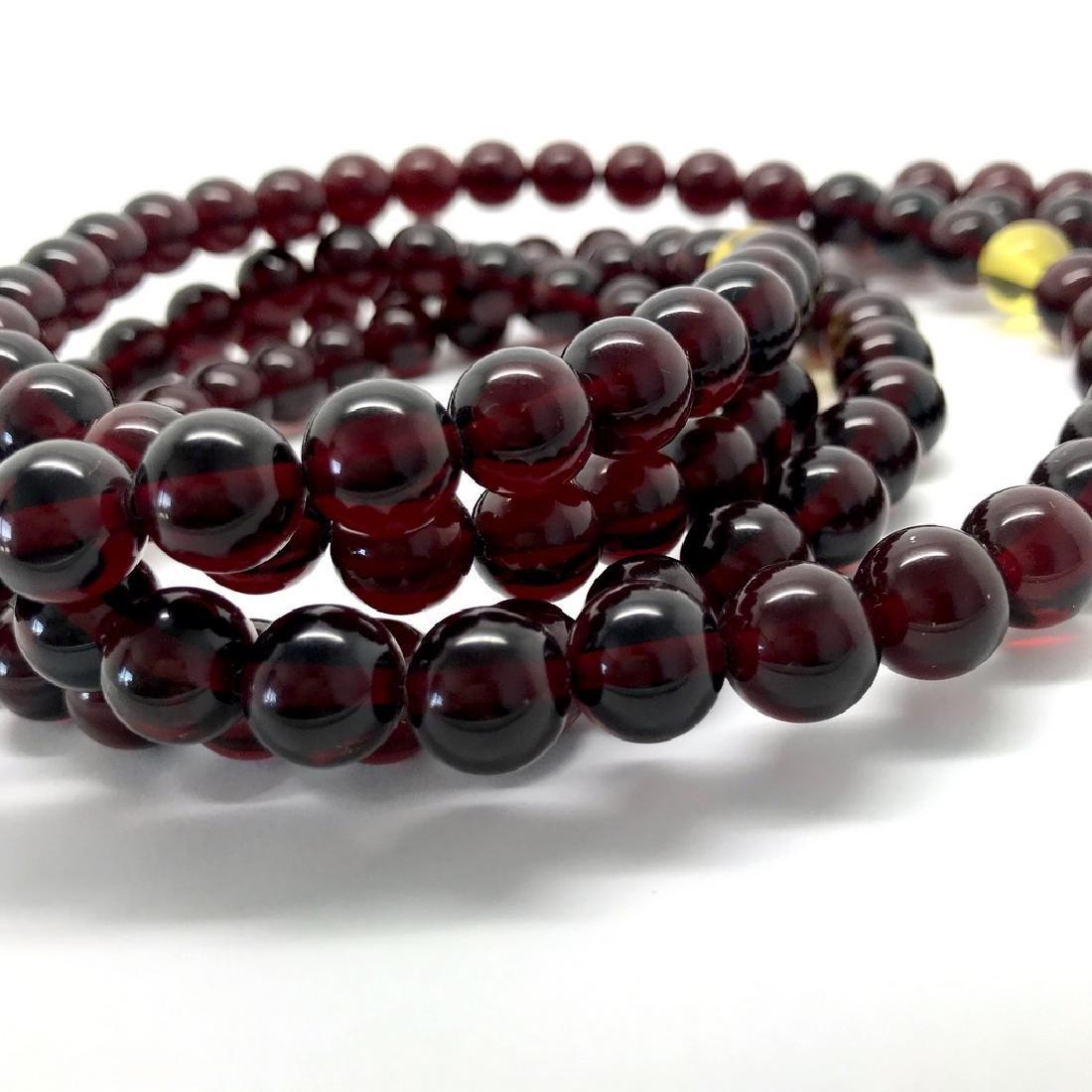 Tibetan japa mala Baltic amber cherry beads ø10mm 80 - 7