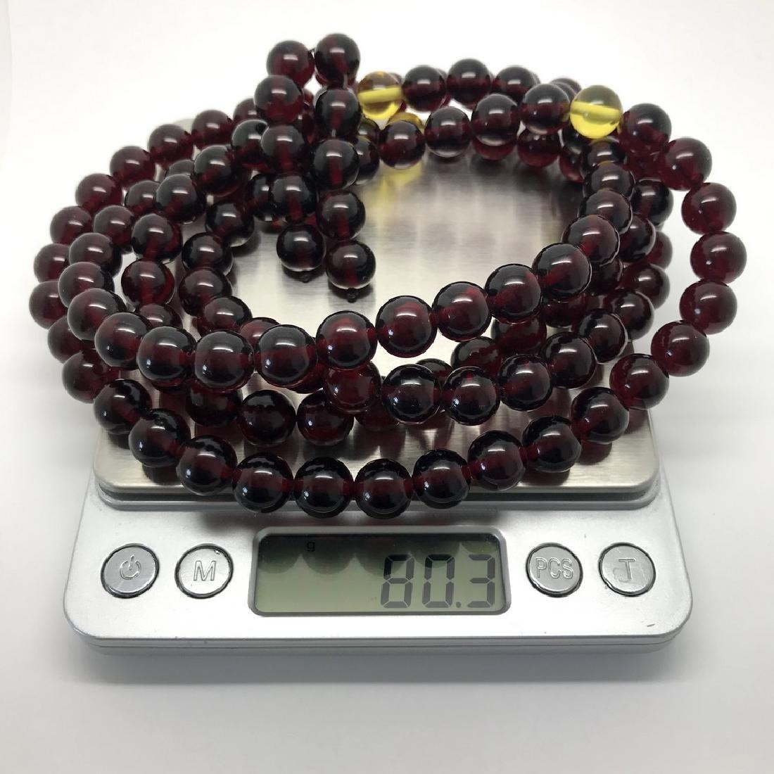 Tibetan japa mala Baltic amber cherry beads ø10mm 80 - 9