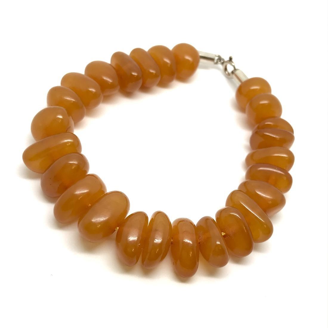 Art deco bracelet Baltic amber beads silver clasp rare