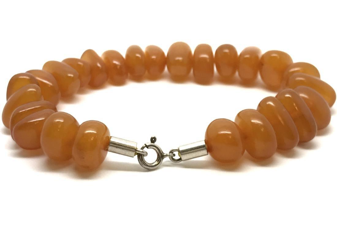 Art deco bracelet Baltic amber beads silver clasp rare - 4