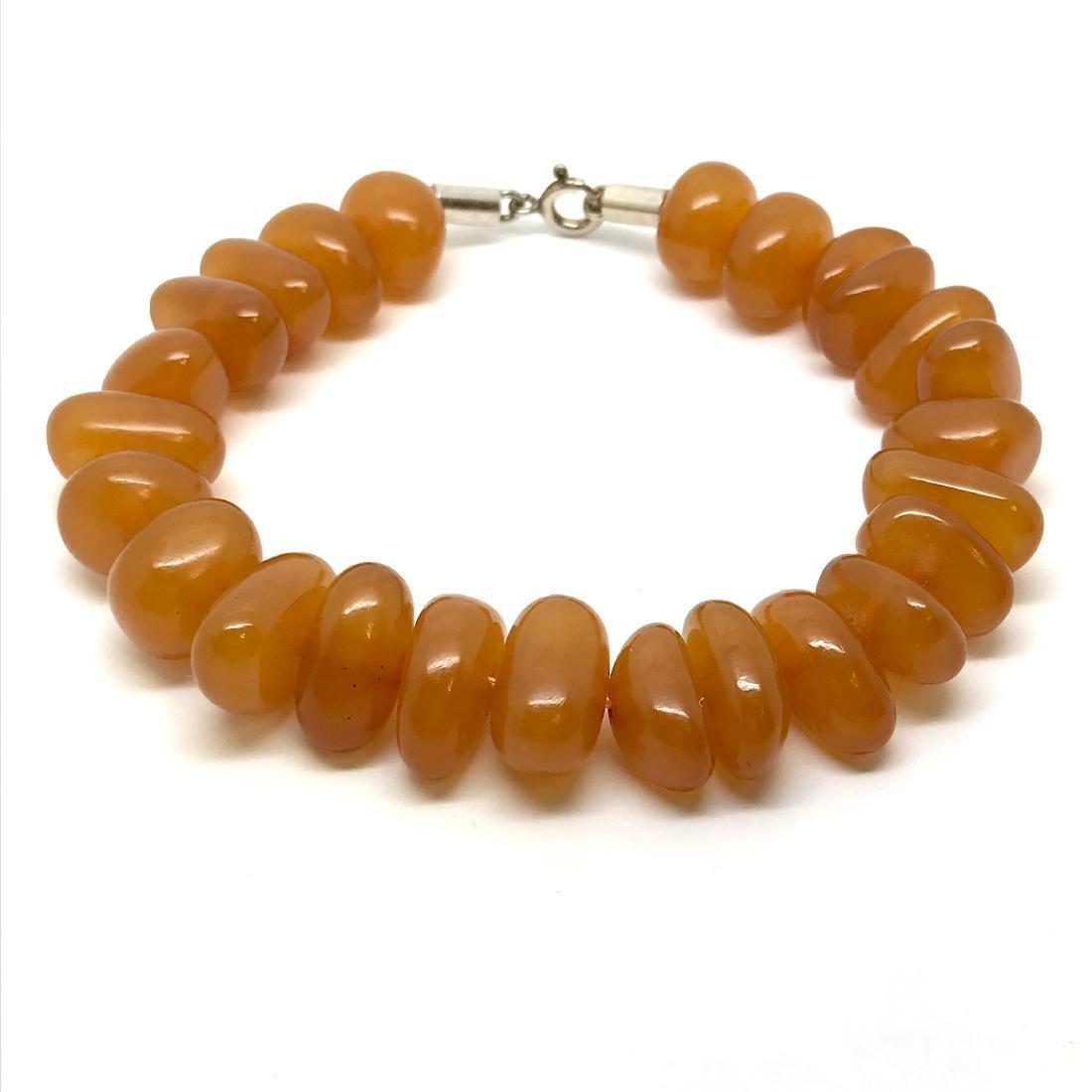 Art deco bracelet Baltic amber beads silver clasp rare - 5